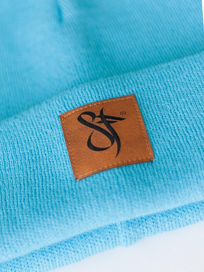 Beanie Leather Patch blue