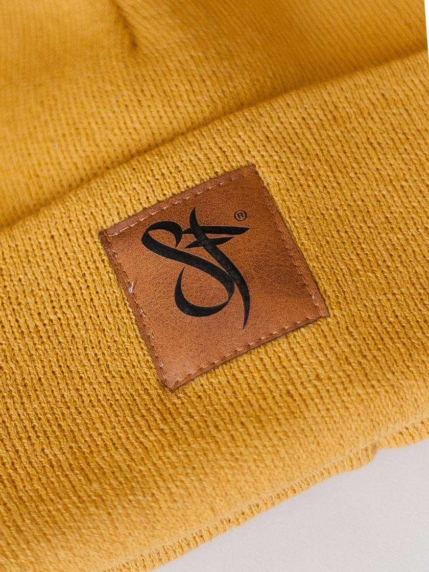 Beanie Leather Patch yellow