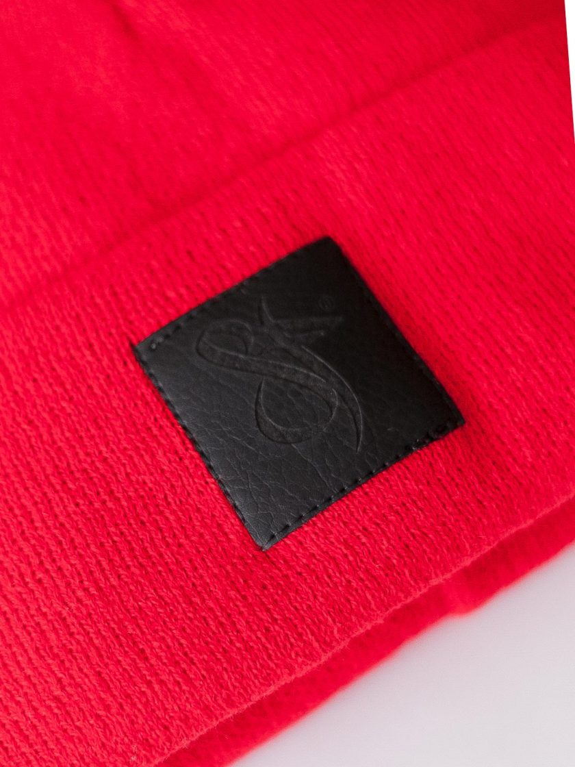 Black Leather Patch Beanie Vibrant Red