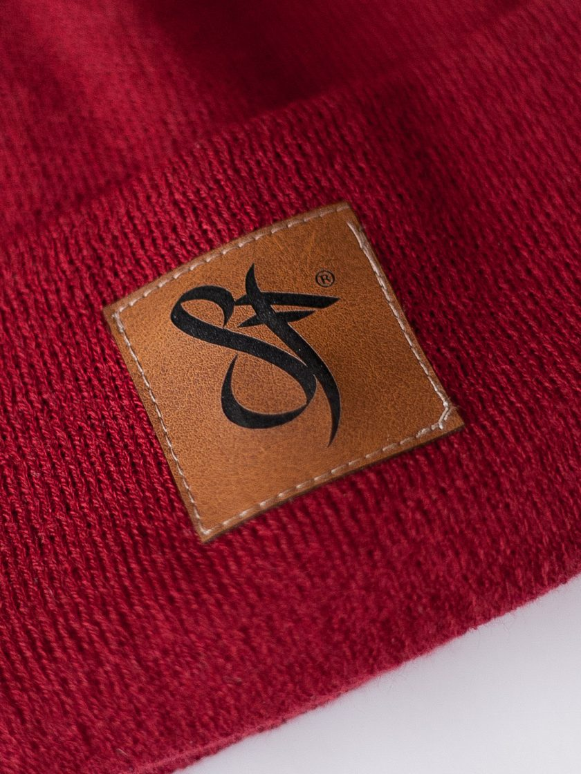 Beanie Leather Patch red