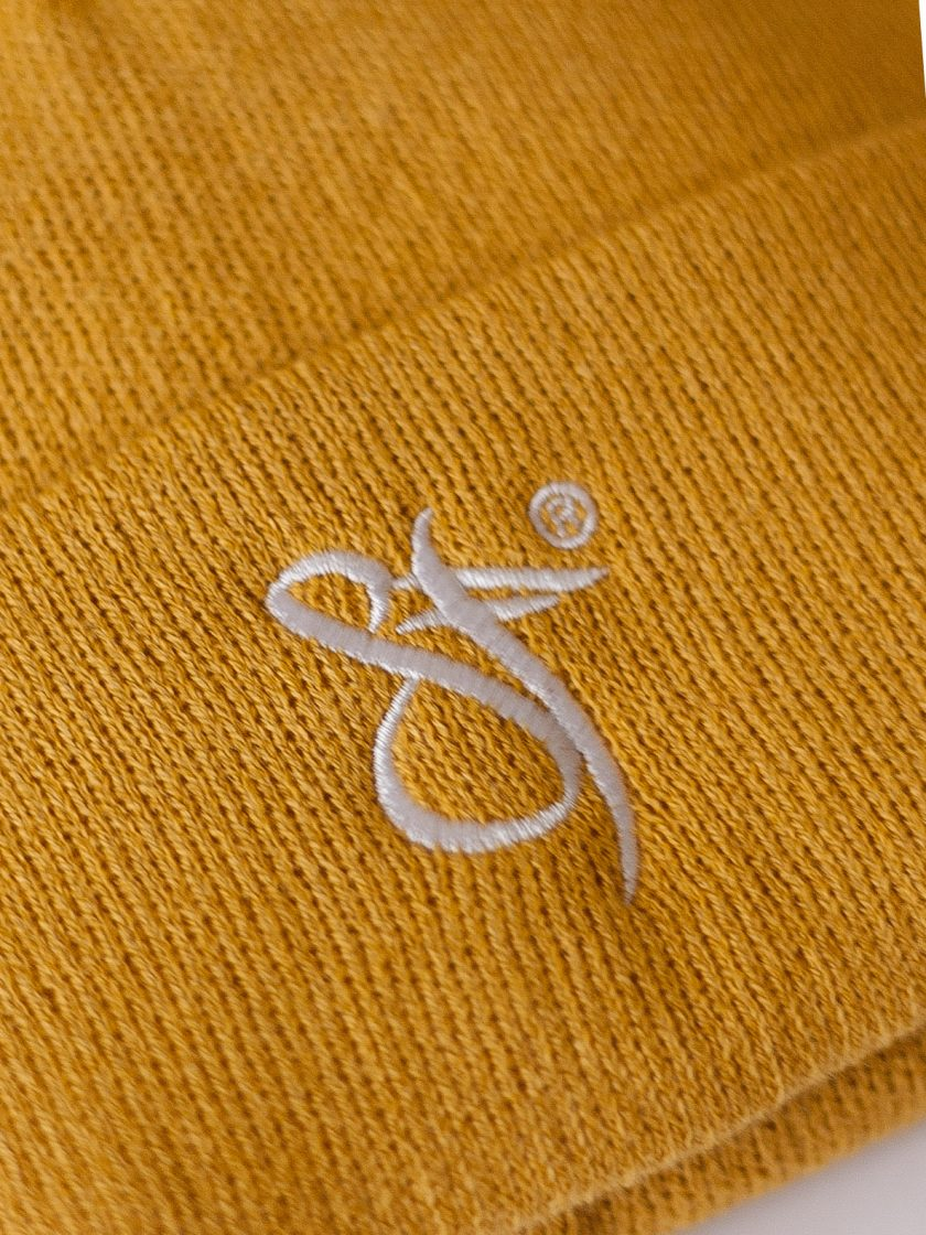 SF Embroidery Beanie Hat yellow/white