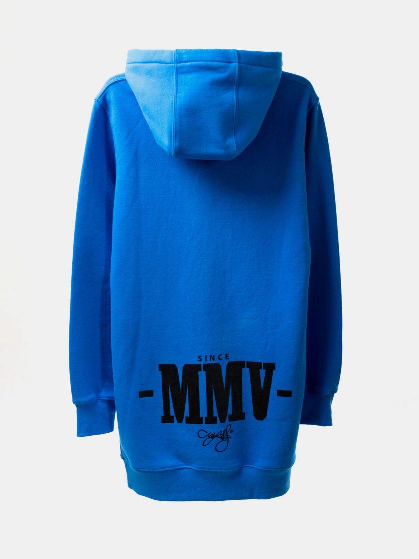 MMV Long Hoodie Dress back OG BLUE