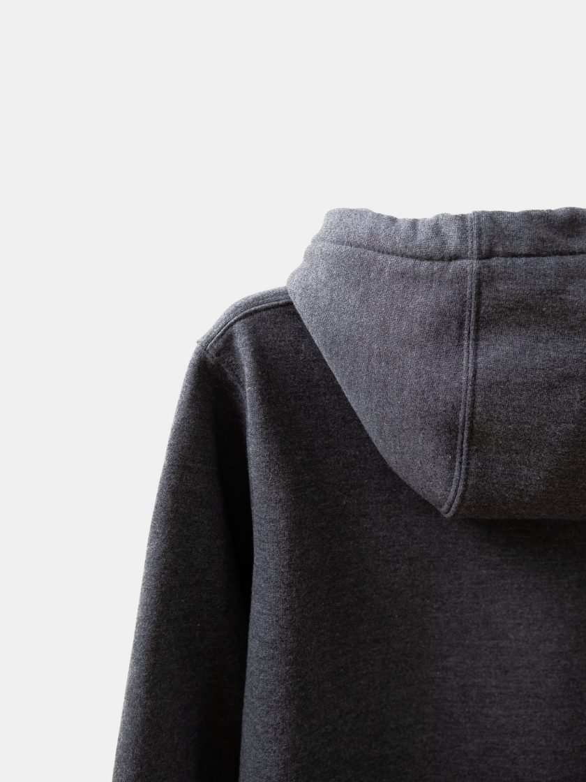 MMV Long Hoodie Dress Hood details Graphite