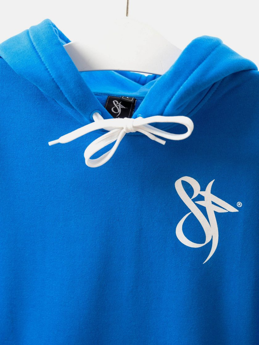 MMV Long Hoodie Dress OG Blue logo detail
