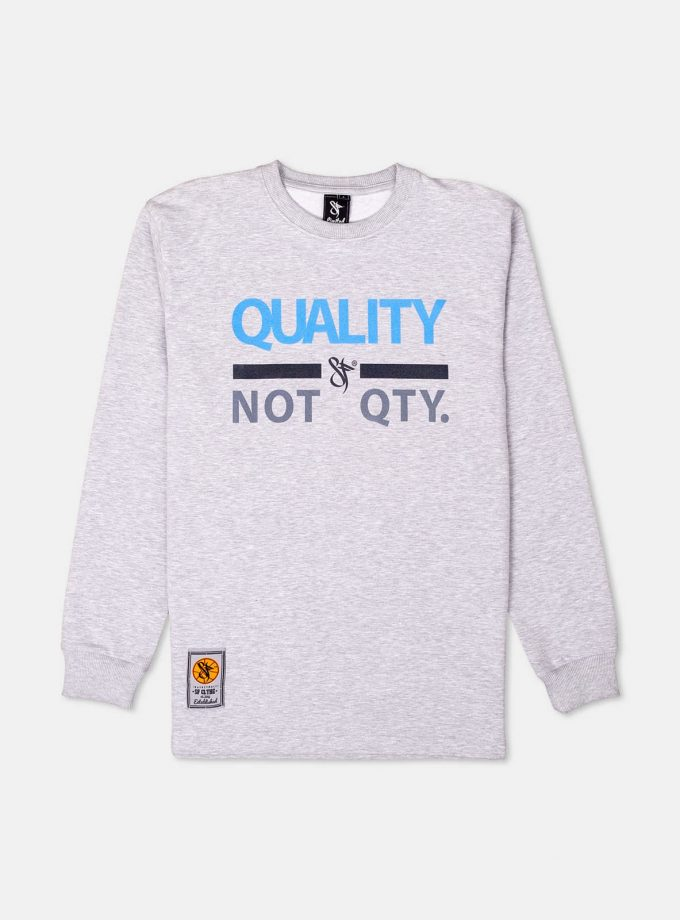 Quality not Quantity Ethos Longsleeve in grey color.