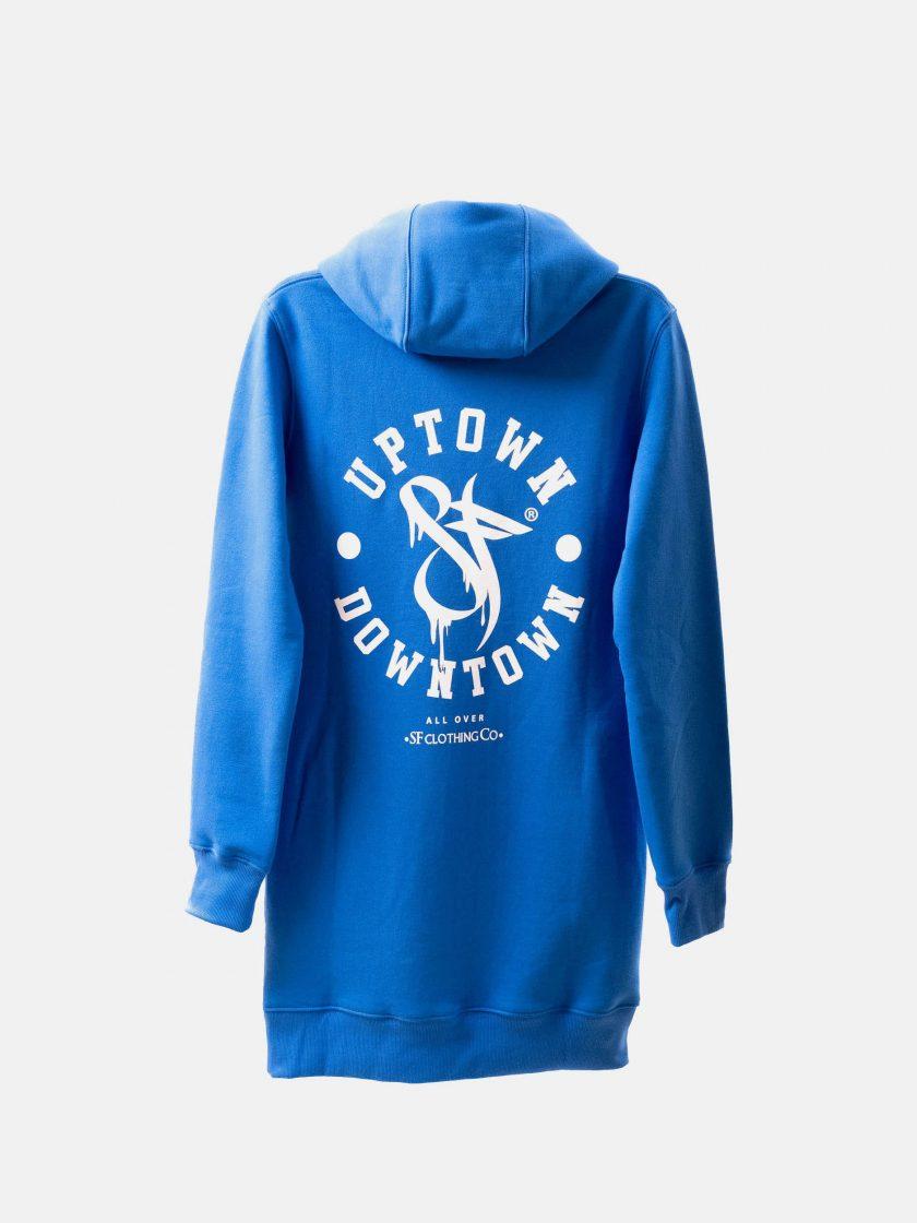 MMV Long Hoodie Dress OG Blue Back