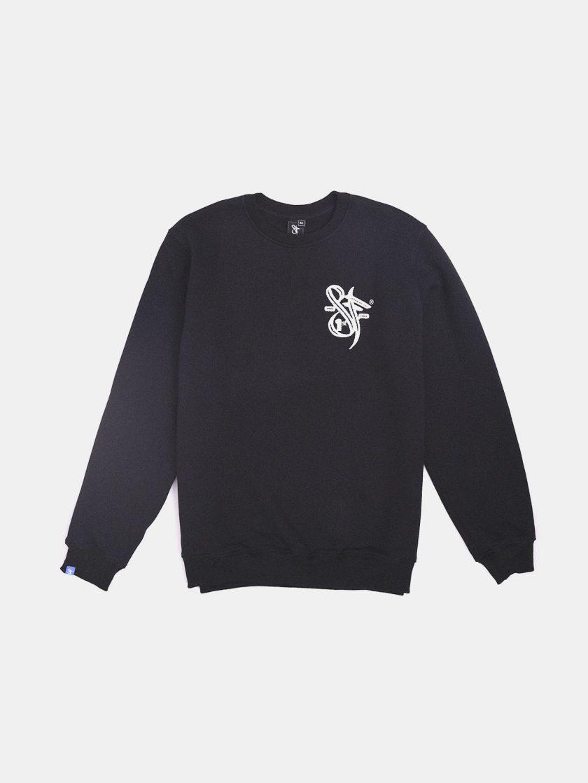 Sf Brand Sweatshirt Black- Chenille Embroidery design detail