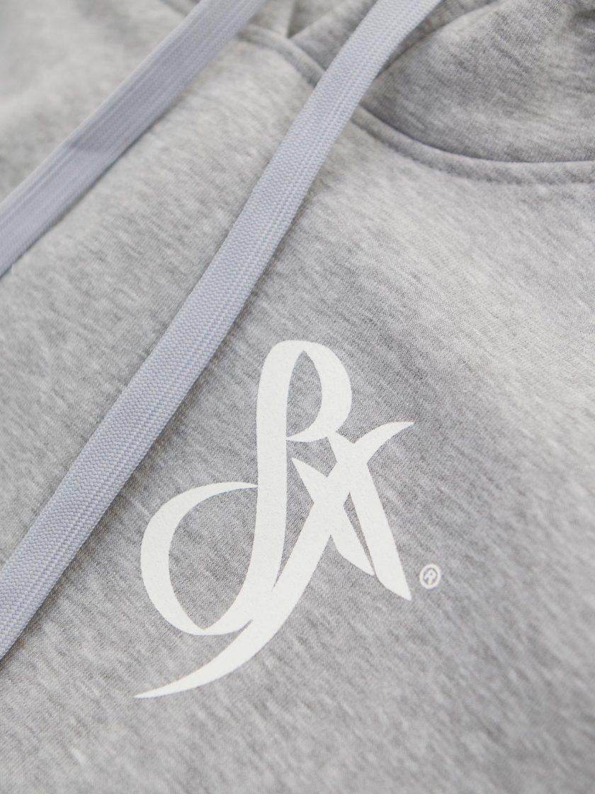 Hoodie Zip Emblem Sport Grey
