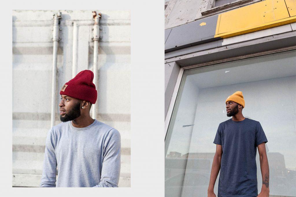 SF Beanie Hat-Burgundy & Yellow