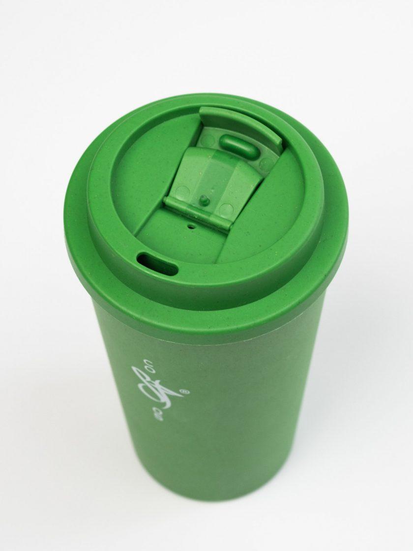 Bamboo Mug Green- Standfor Open Lid detail