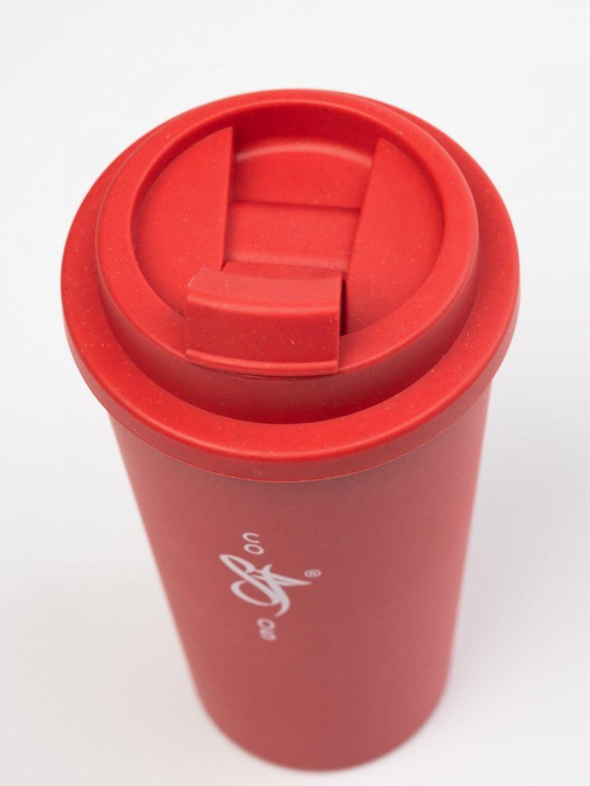 Bamboo Mug Red- Lid Top Detail