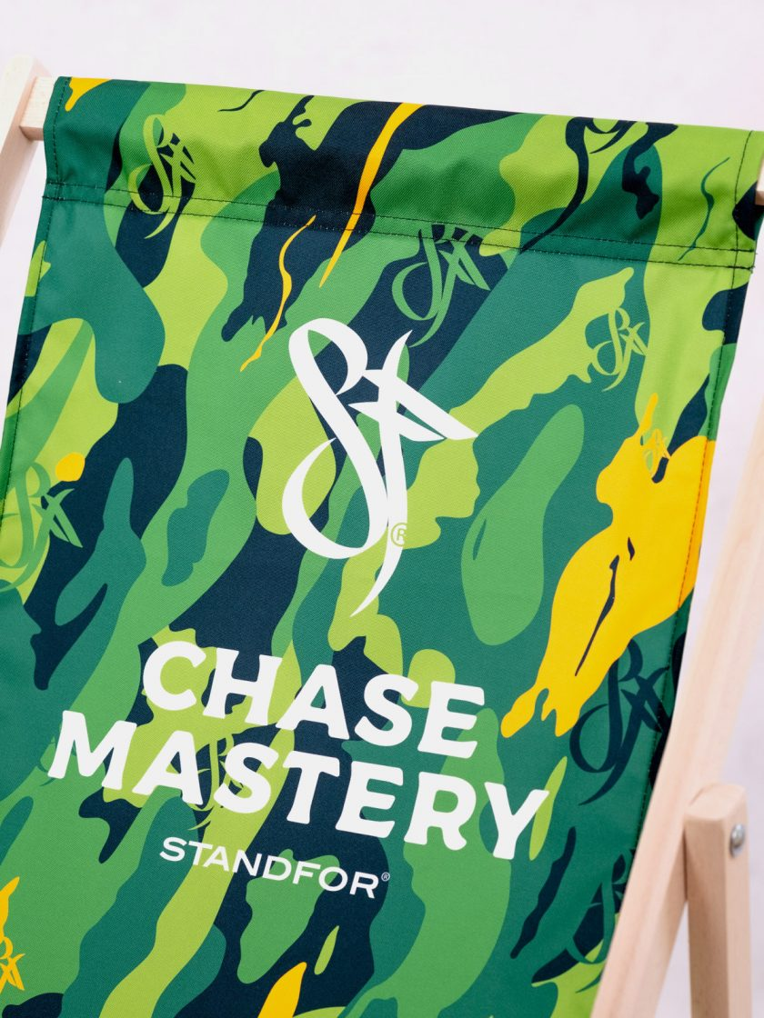 Wooden chair Chase Mastery design details-Original Jungle Camo Pattern