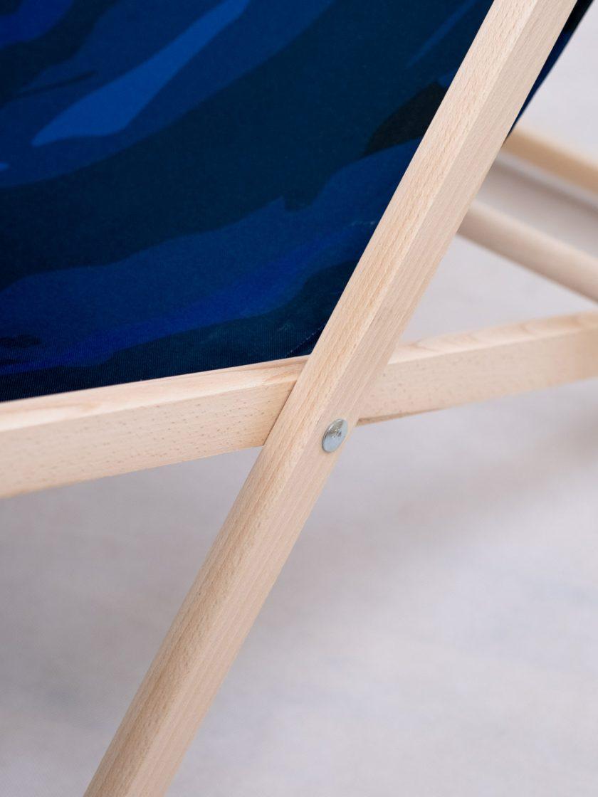 Wooden chair adjustable details-Mono Blue Camo Pattern