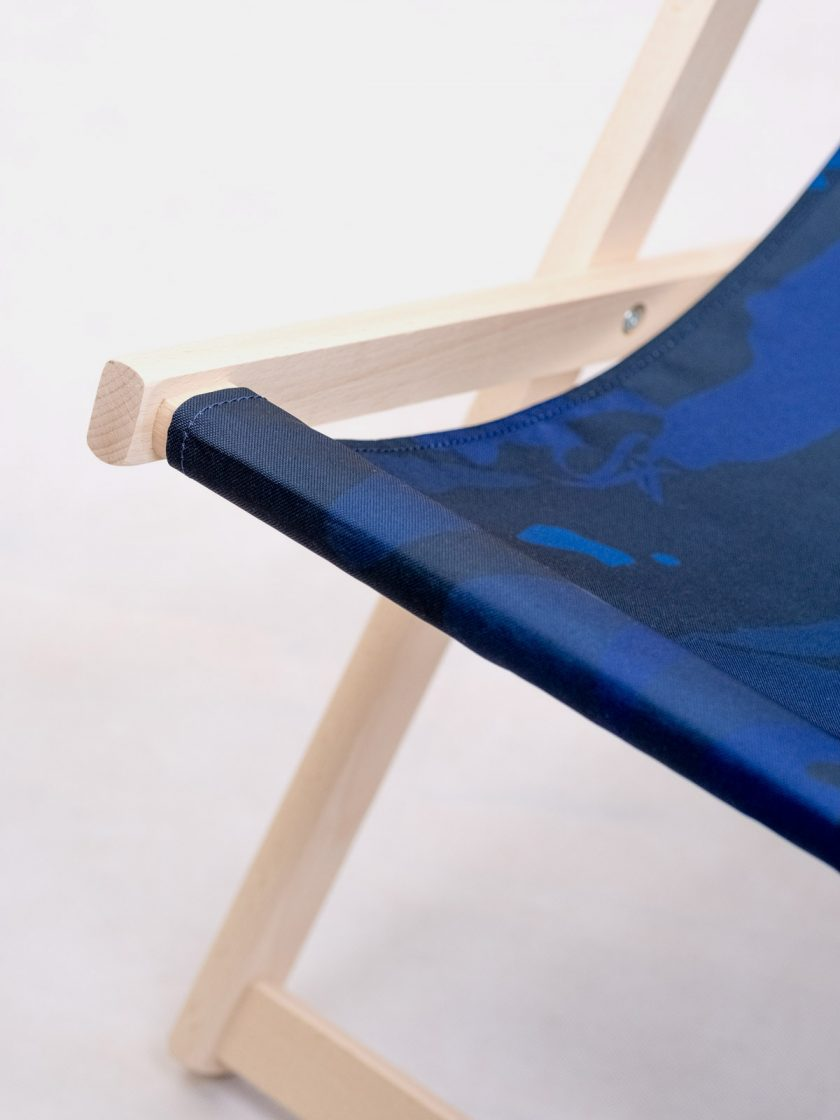 Wooden chair details-Mono Blue Camo Pattern