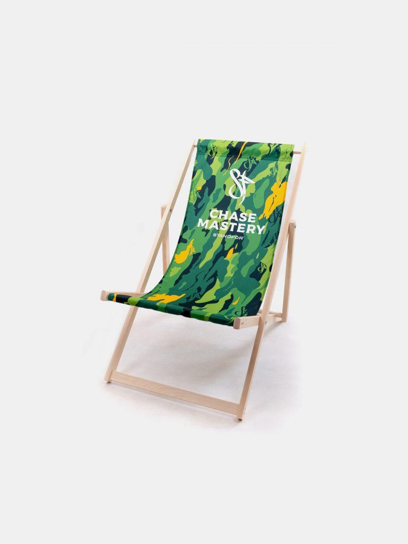 Wooden Garden Folding Chair-Platan Jungle Original Pattern