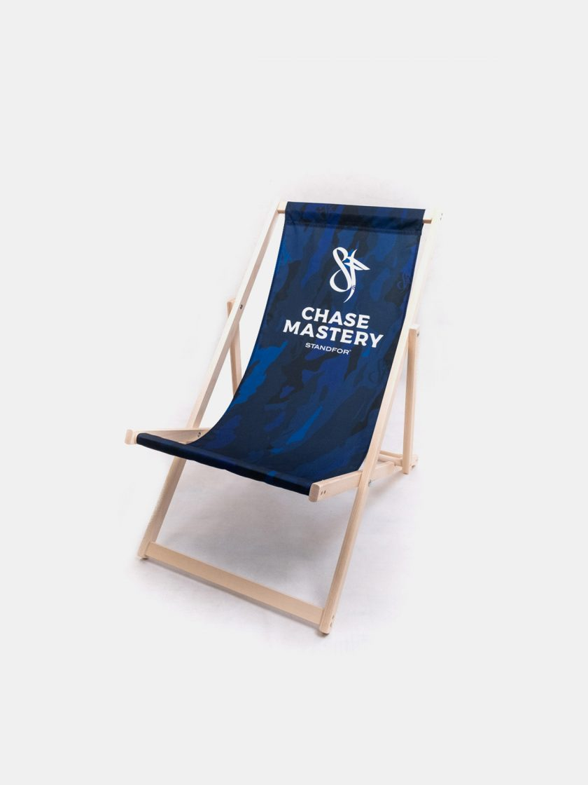 Wooden Garden Folding Chair-Mono Blue Camo Pattern