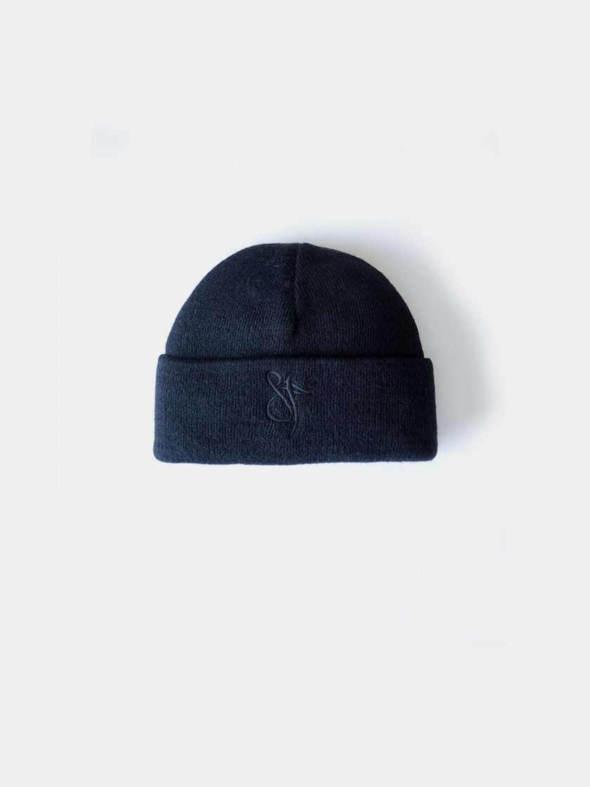 Fisherman Beanie Hat black knitwear and black embroidery