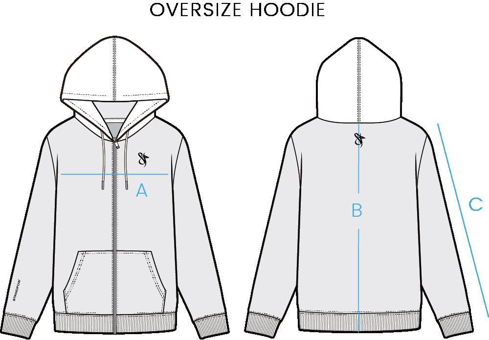 oversize hoodie size chart