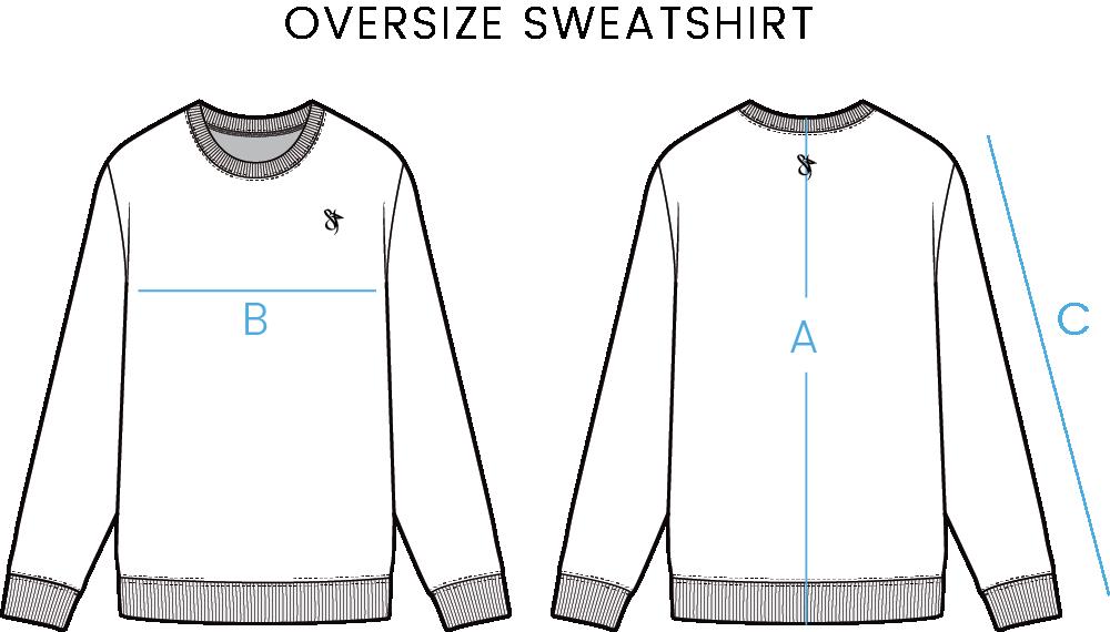 oversize sweatshirt size chart