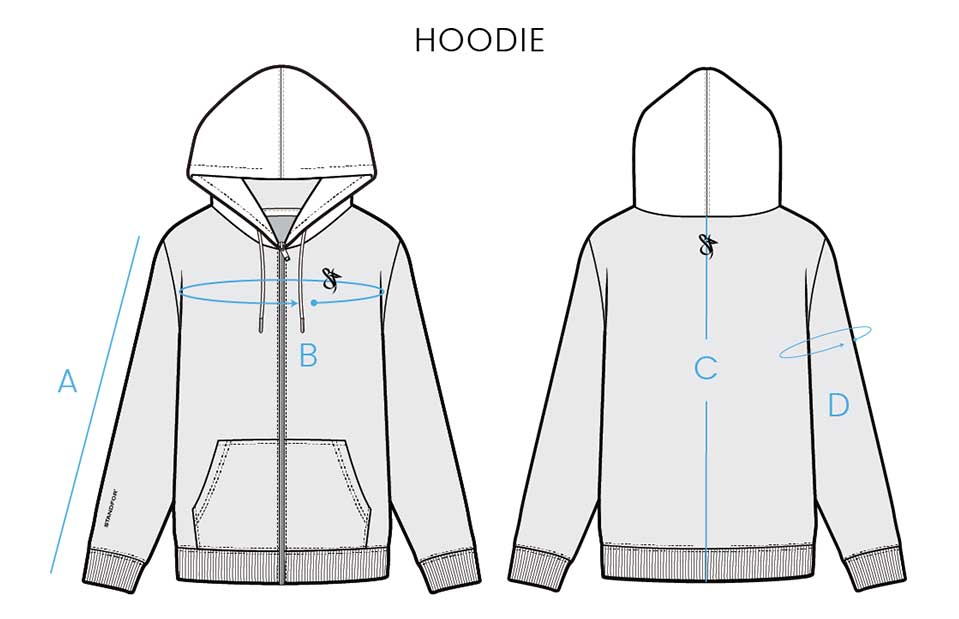 Standfor Size Chart for Hoodie