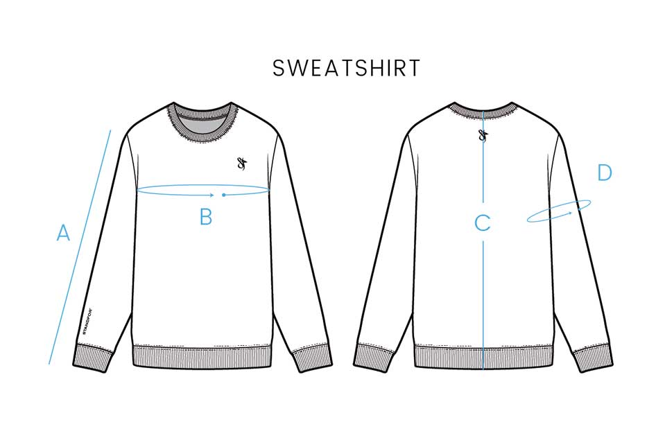 Standfor Size Chart for Sweatshirts
