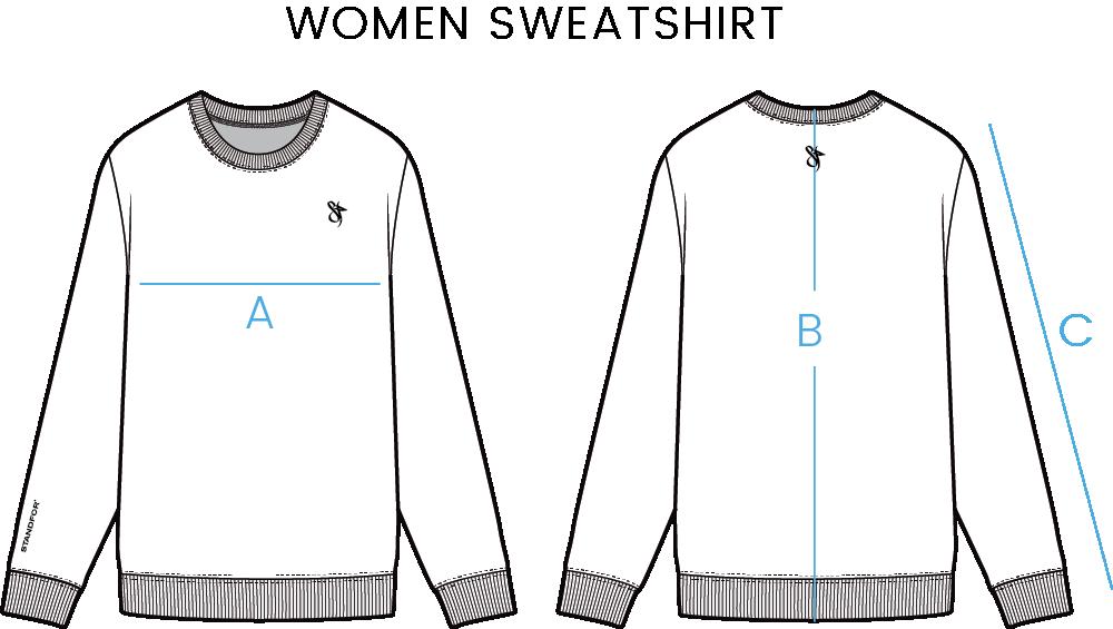 women sweatshirt size chart