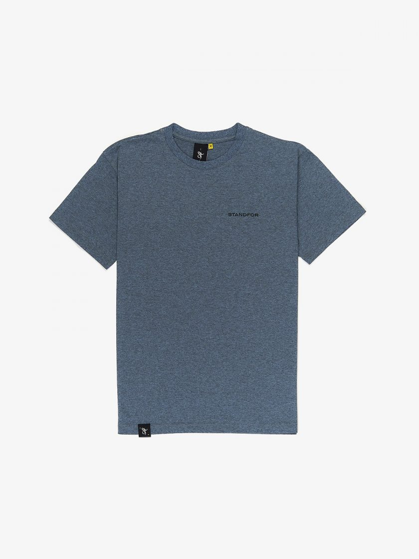 SF Crew Emblem Tee Sports Blue with a graphic print behind