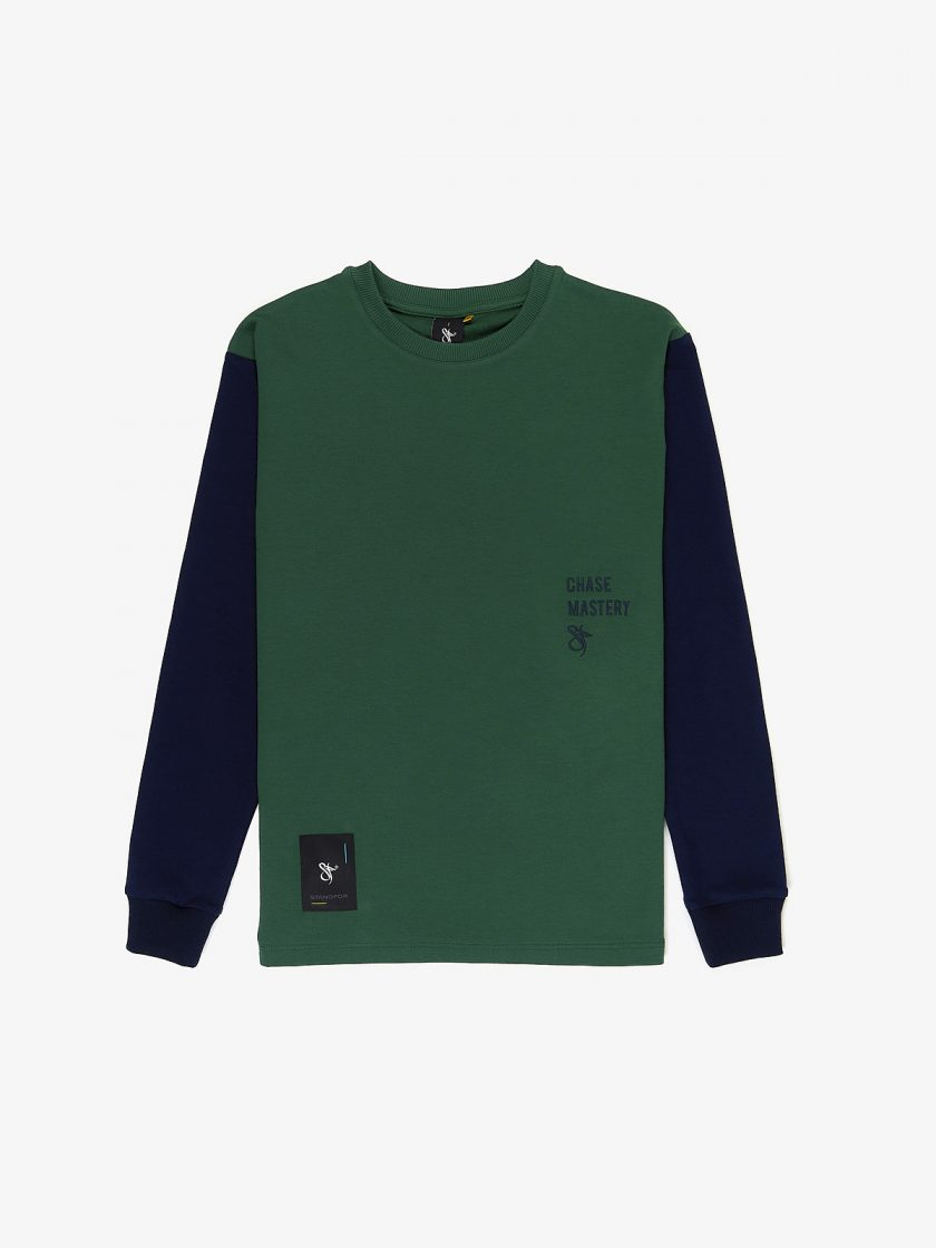 Chase MAstery Mixed Longsleeve Dusk Green- With Blue pacific sleeves