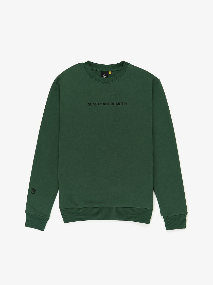 quality not quantity sweatshirt dusk green