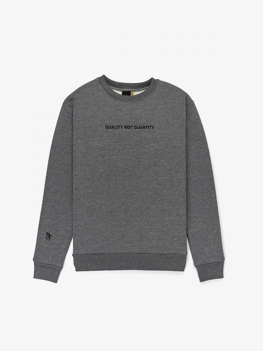 quality not quantity sweatshirt grey