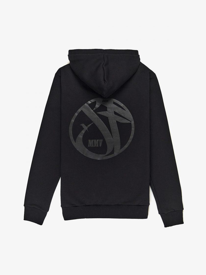 SF Crew Emblem Hoodie Black with black print to the black