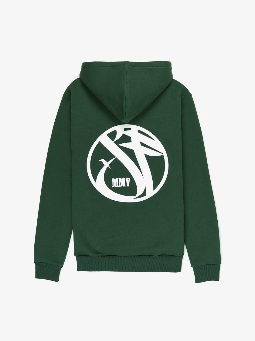 SF Crew Emblem Hoodie Dusk Green with a white Graphic print on the back