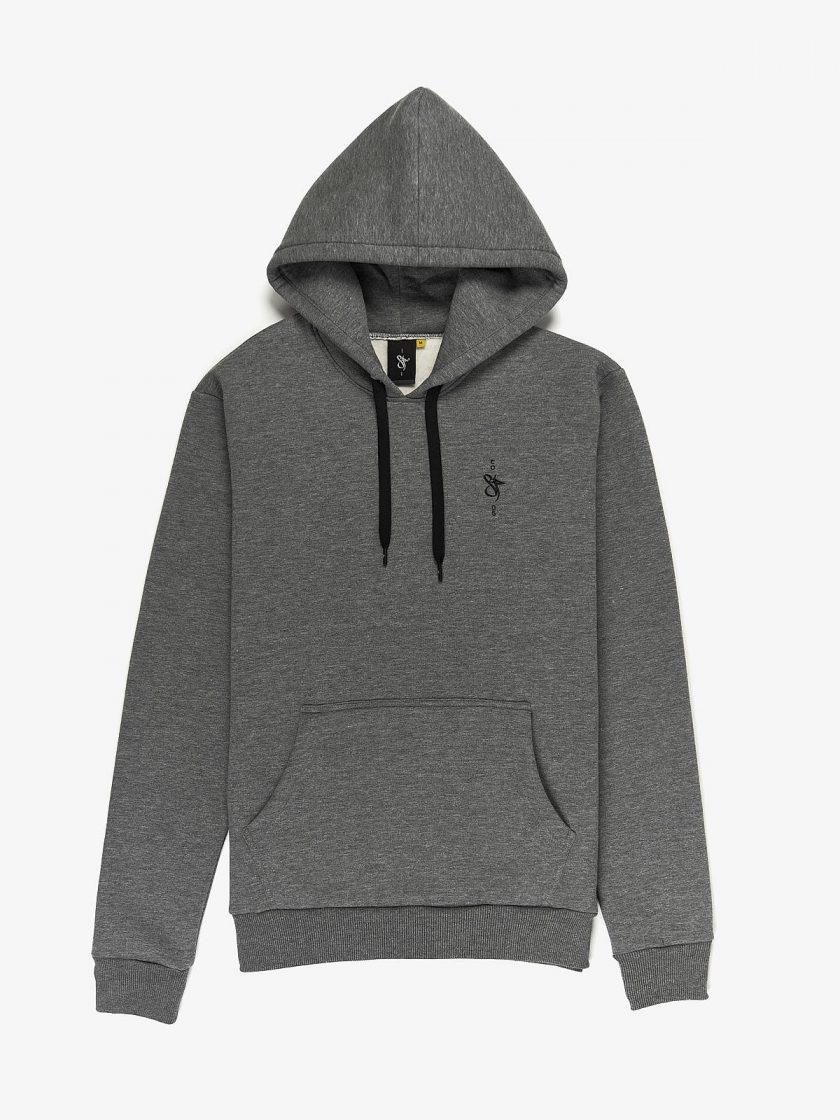 sf crew emblem hoodie melange grey