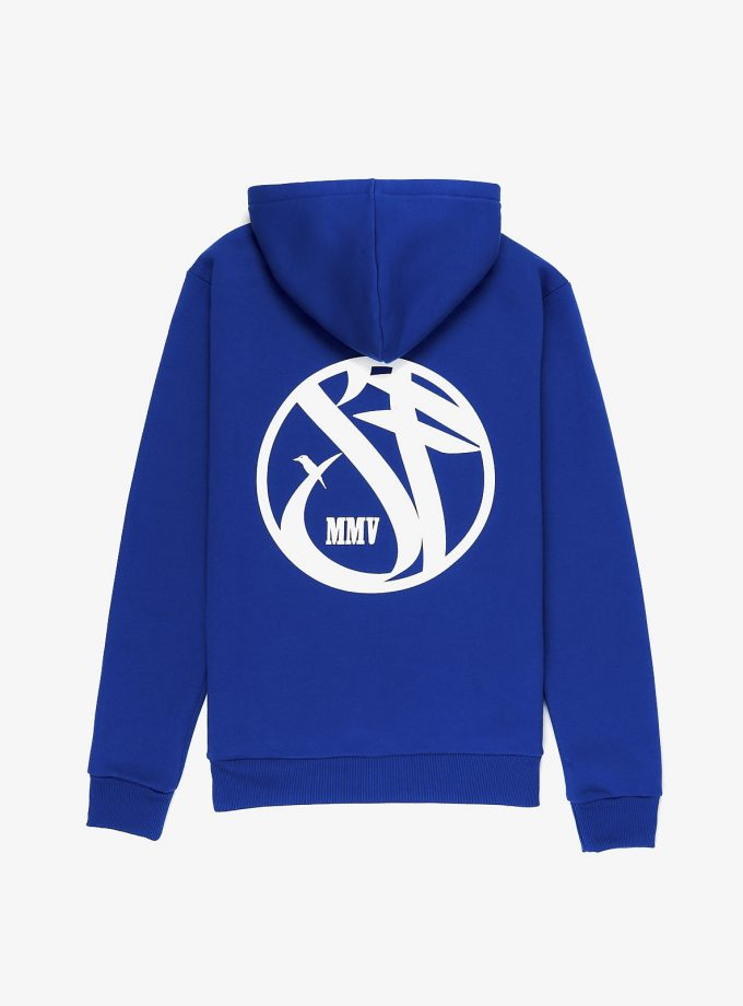 Sf Crew Emblem Hoodie True Blue with a print in the back