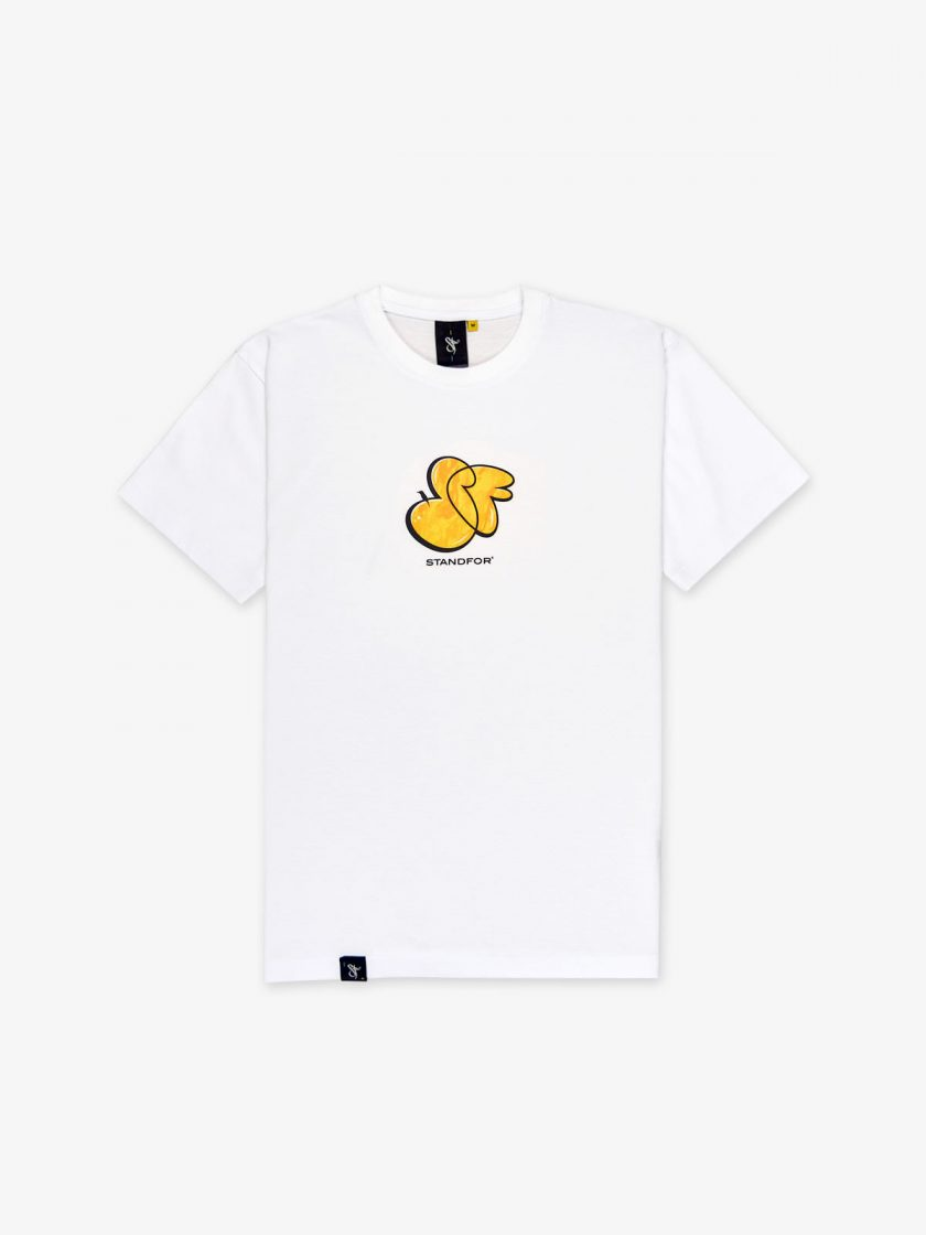 SF Graffiti White Tee offered with a graphic print on front