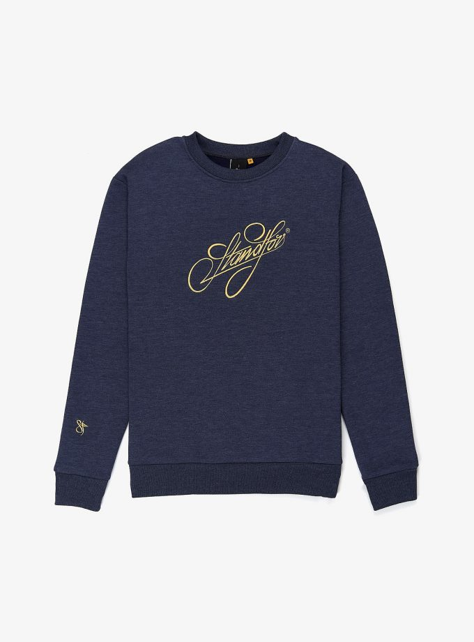Signature Sweatshirt in Jeans color flat photography