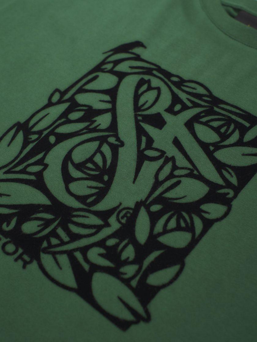 dusk green florian tee flock design detail