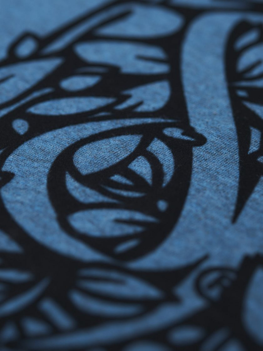 florian melange blue flocking design detail
