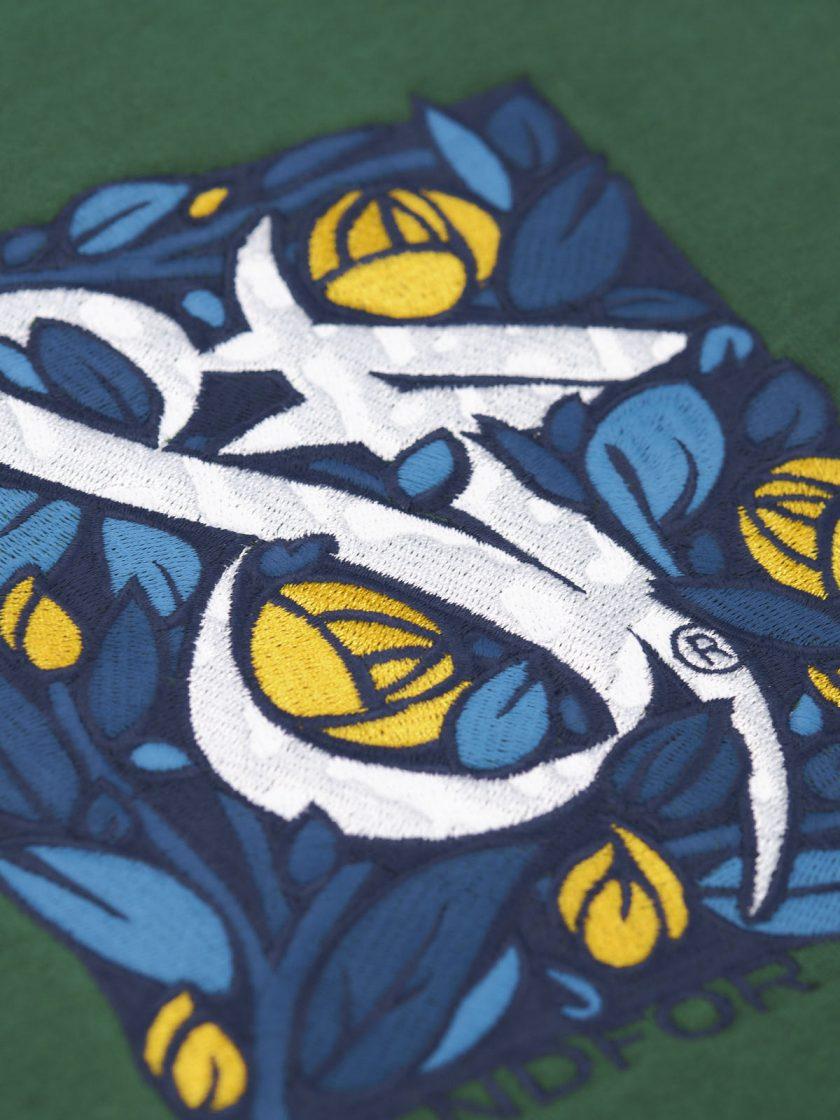 sweatshirt green florian embroidery detail