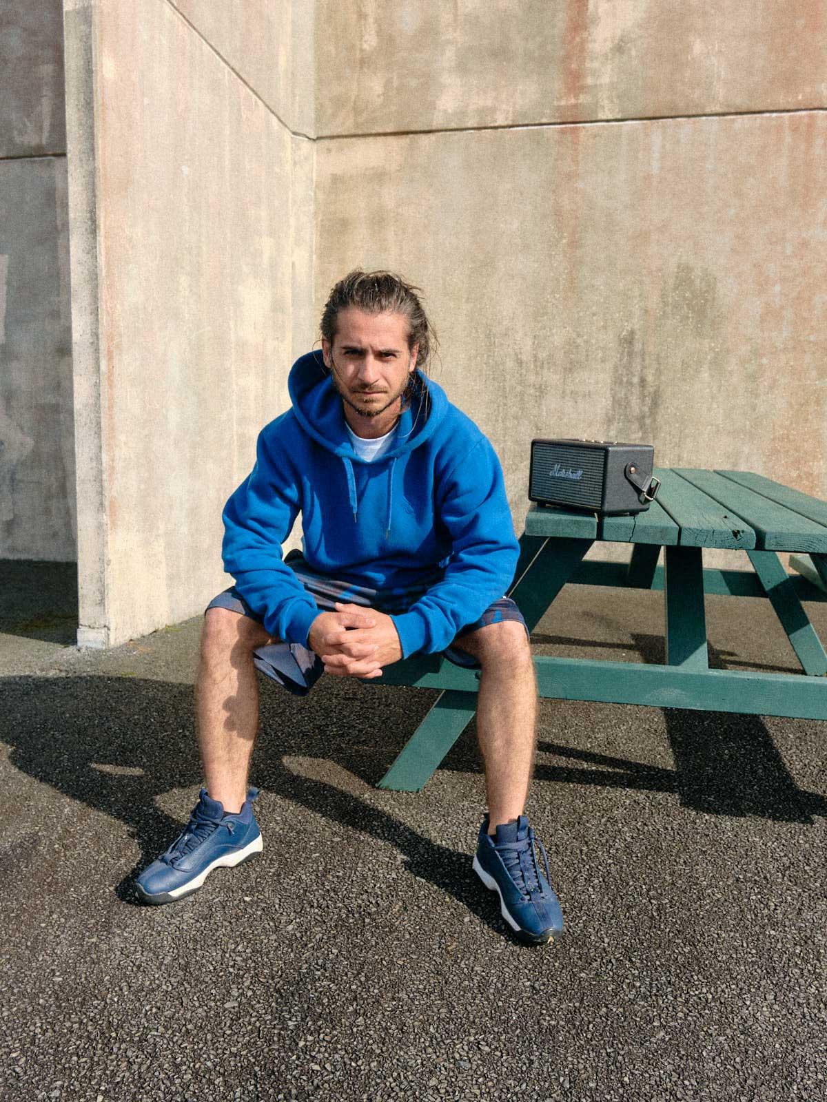 mono blue camo basketball short model bench