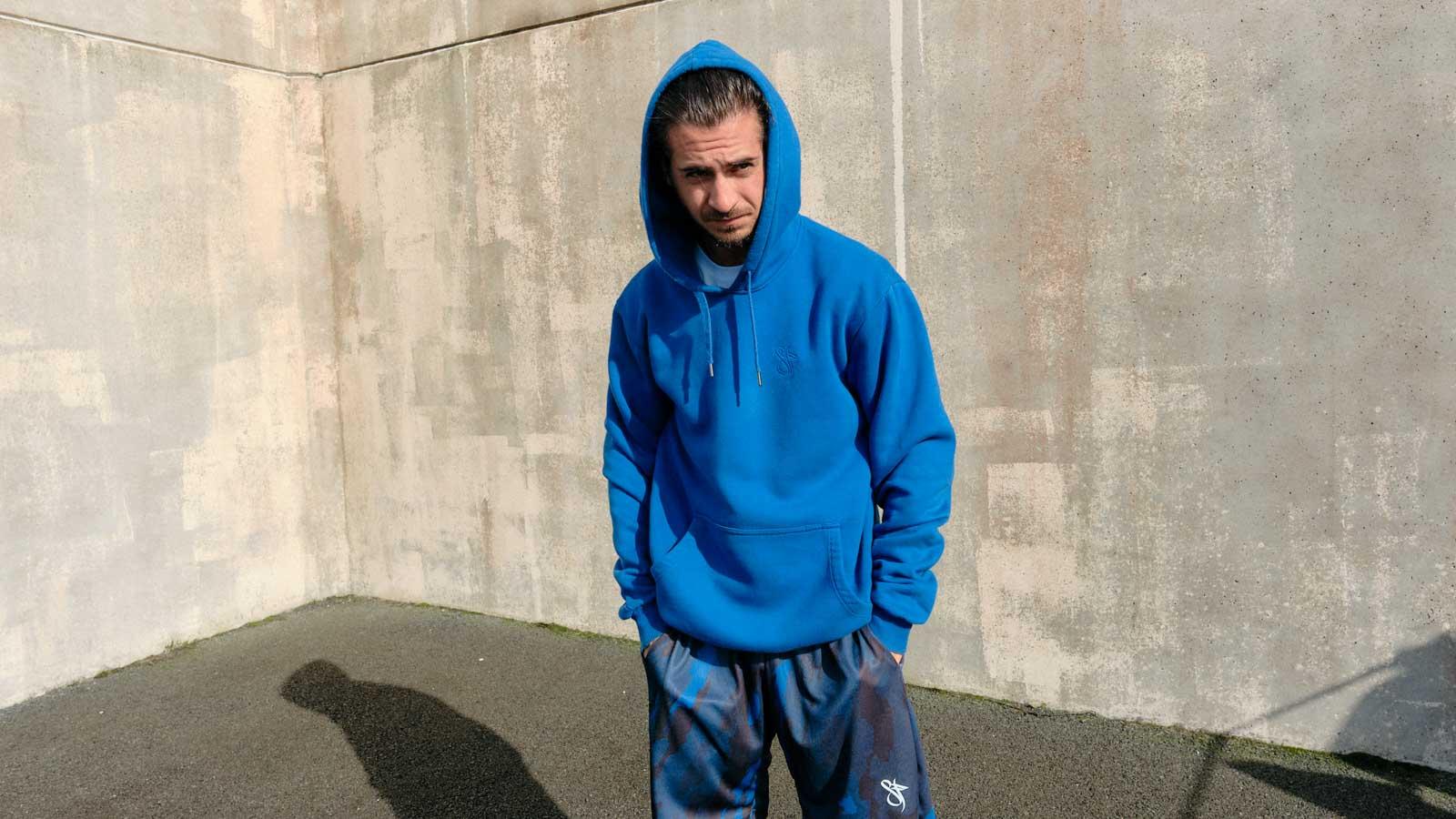 mono blue camo basketball short model
