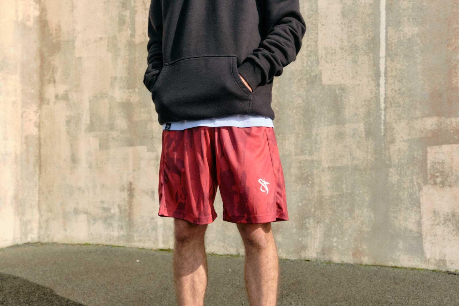 mono red camo basketball short model horizontal