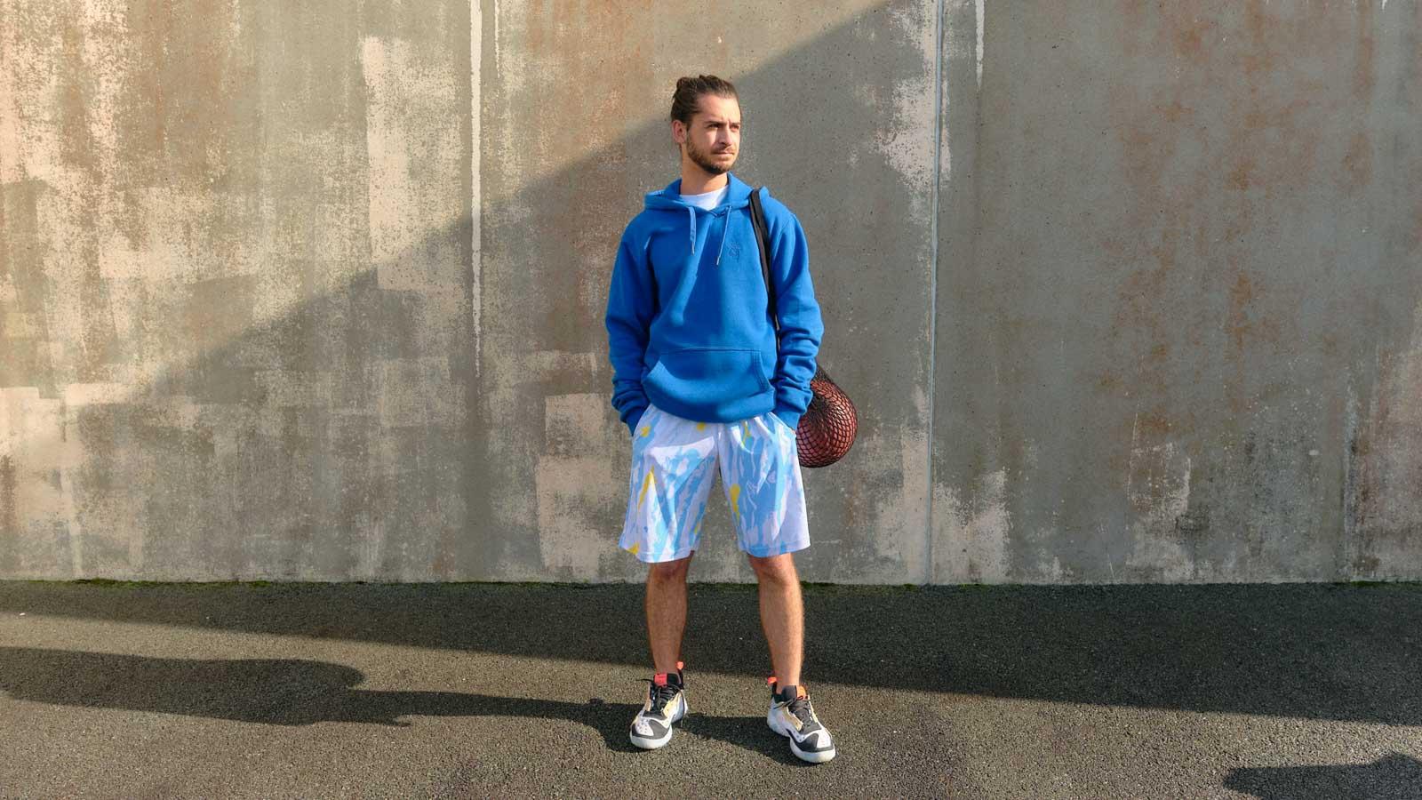 winter russian camo basketball short model front horizontal